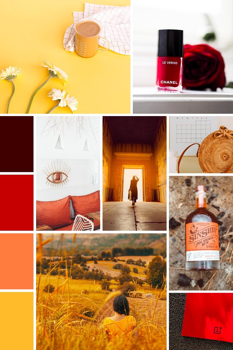 Moodboard dans les tons rouges oranges et jaunes