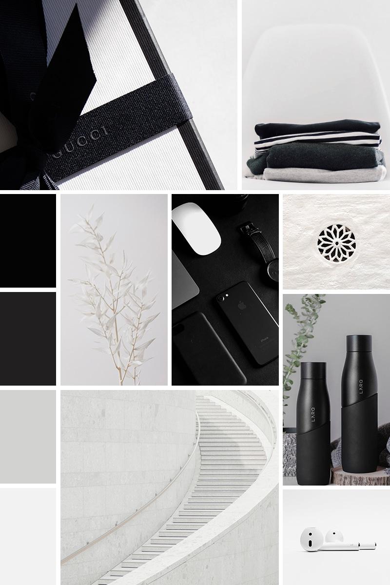 Moodboard blanc et noir