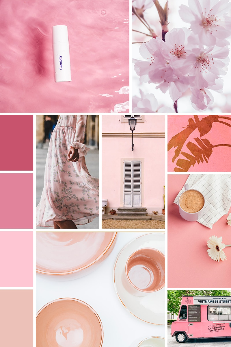 Moodboard dans les tons roses