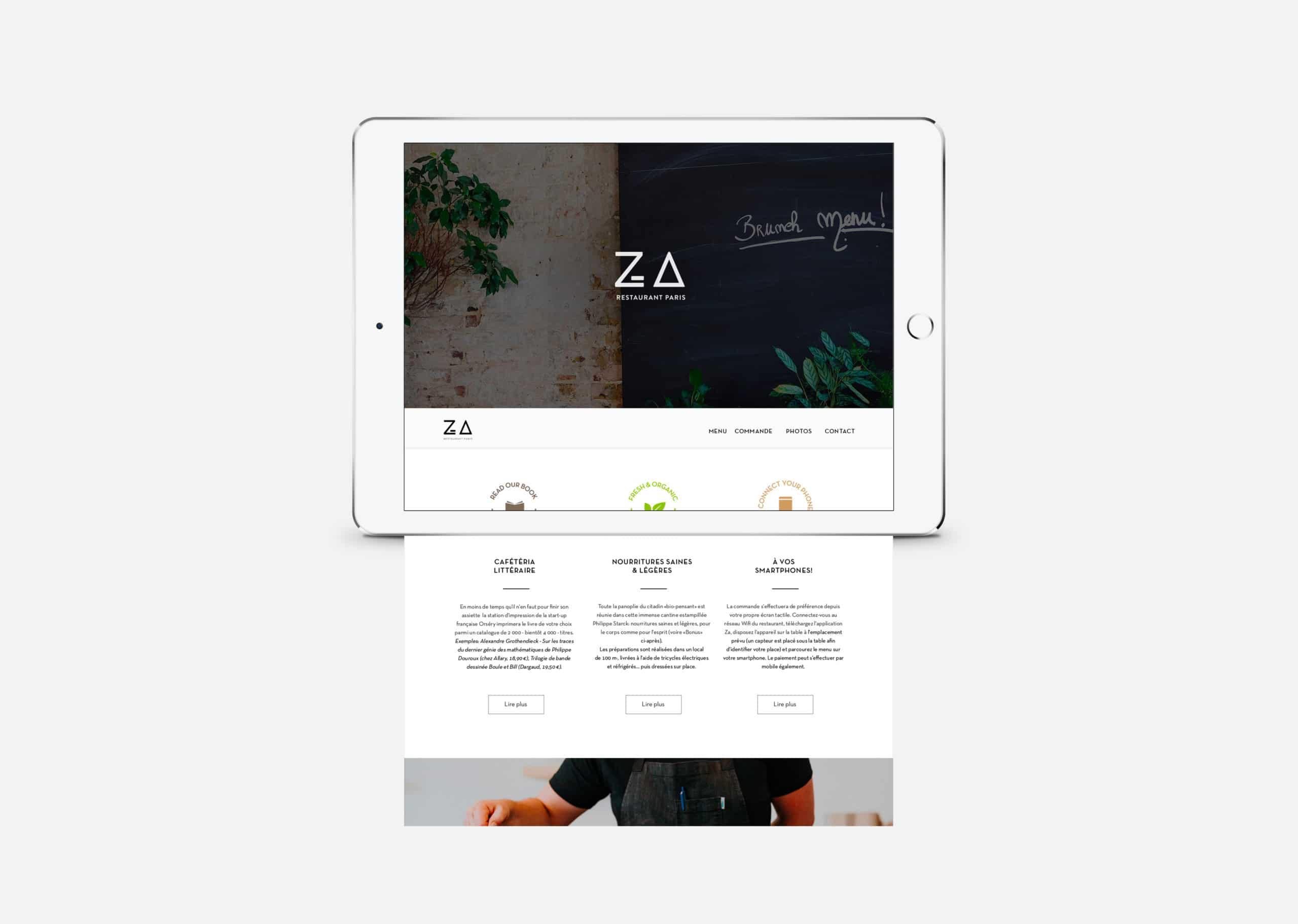 Écran qui présente la homepage du site internet du restaurant Za Paris