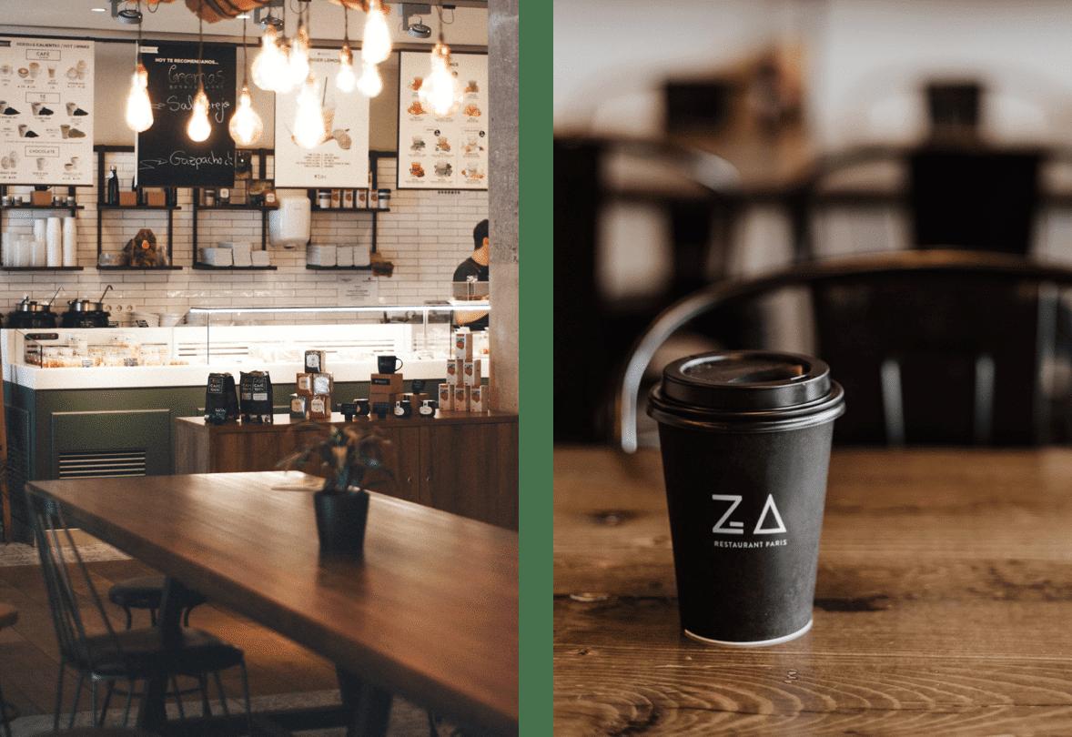 Un visuel à l'intérieur du restaurant Za Paris et un autre visuel gobelet avec du café ajouré du logo