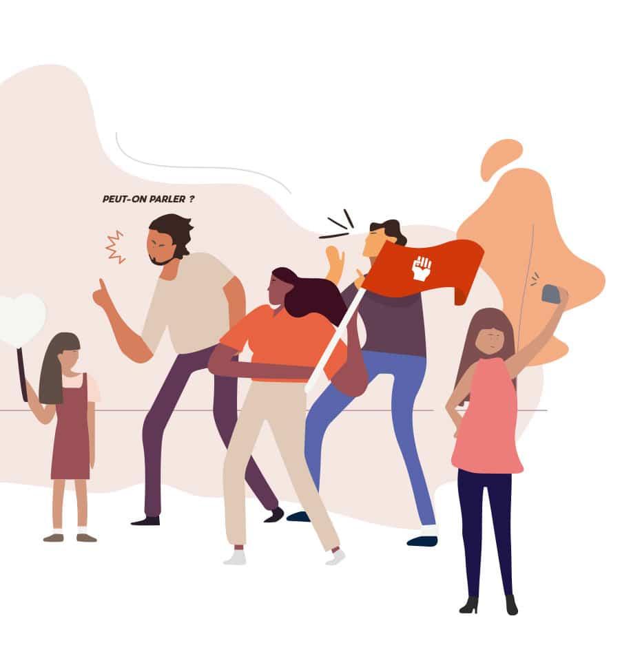 Dessin vectoriel avec différents personnages en train de crier pour échanger leurs avis