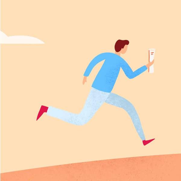 Illustration d'un homme qui court sur une colline orange