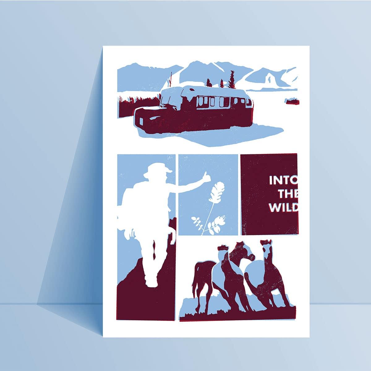 illustration en bichromie bleu et violet sur une carte A5