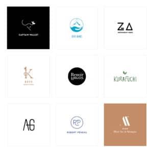 Planche de neuf logos que j'ai réalisée depuis un an