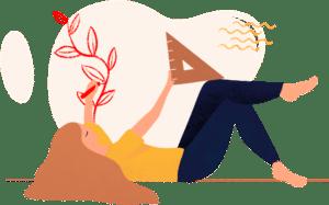 pictogramme d'une femme qui dessine d'une main avec un stylo rouge et un compas dans l'autre main sur fond beige