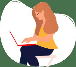 pictogramme site internet avec une femme qui tape sur son ordinateur sur fond blanc
