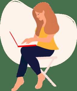 pictogramme site internet avec une femme qui tape sur son ordinateur sur fond beige