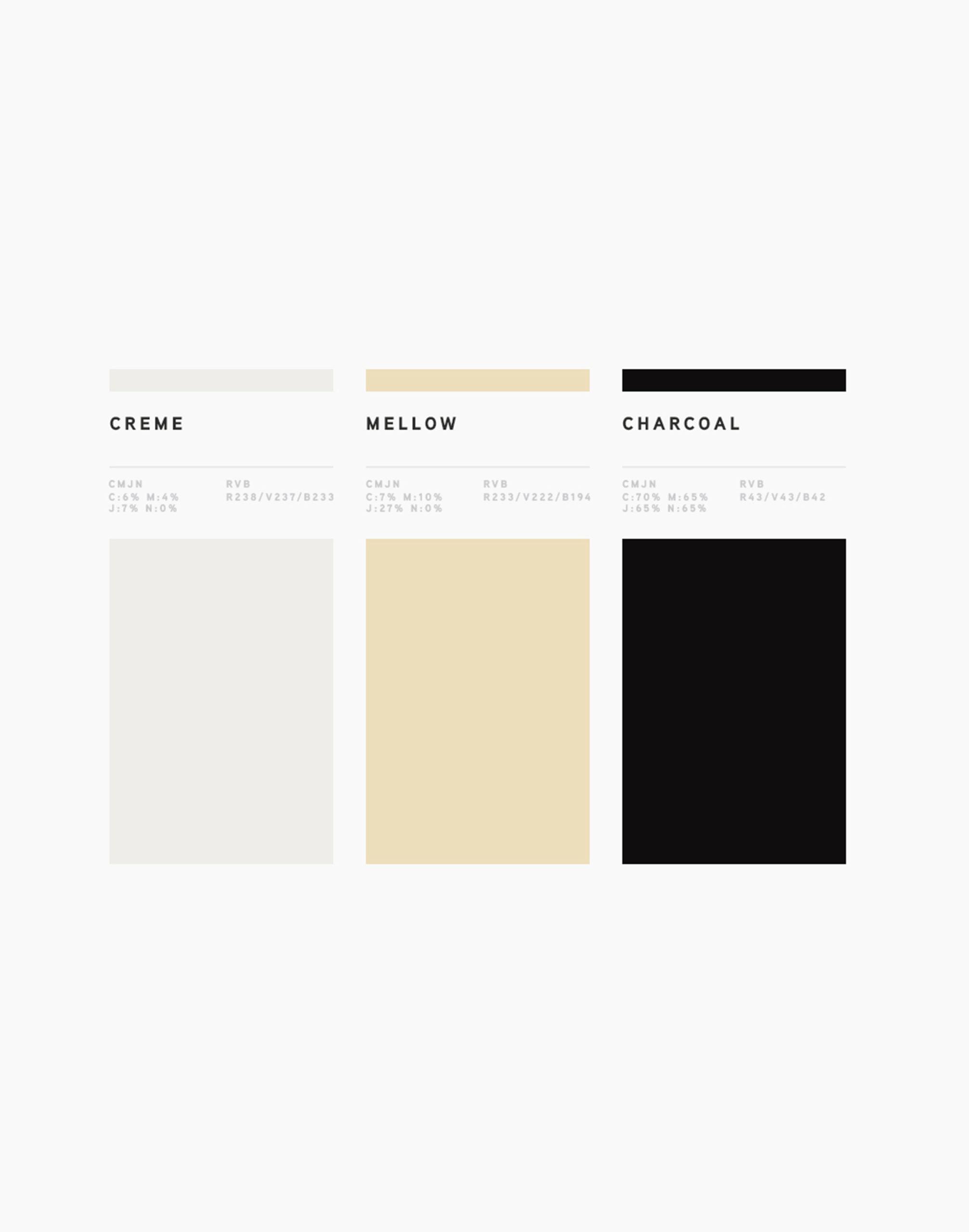 palette de couleurs avec trois couleurs : gris clair, jaune et noir