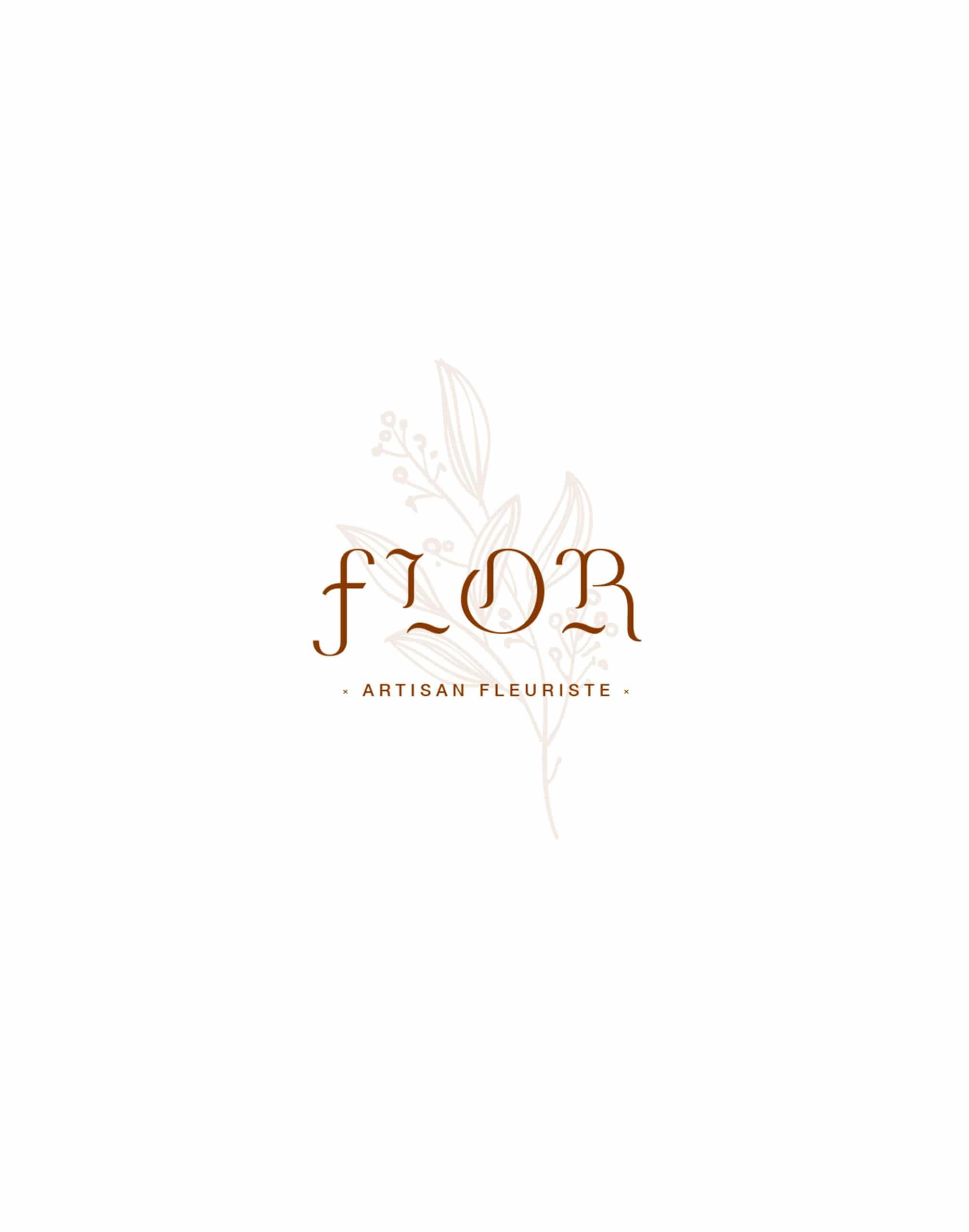 Logo Flor en couleurs marron clair avec une fleur en arrière plan sur fond blanc