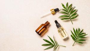 Produits de parfum et feuille verte posé sur un fond beige clair