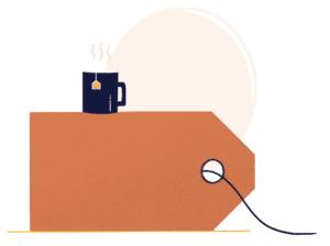 pictogramme création de logo avec une etiquette dessiné en marron avec une tasse de thé posé dessus sur fond beige