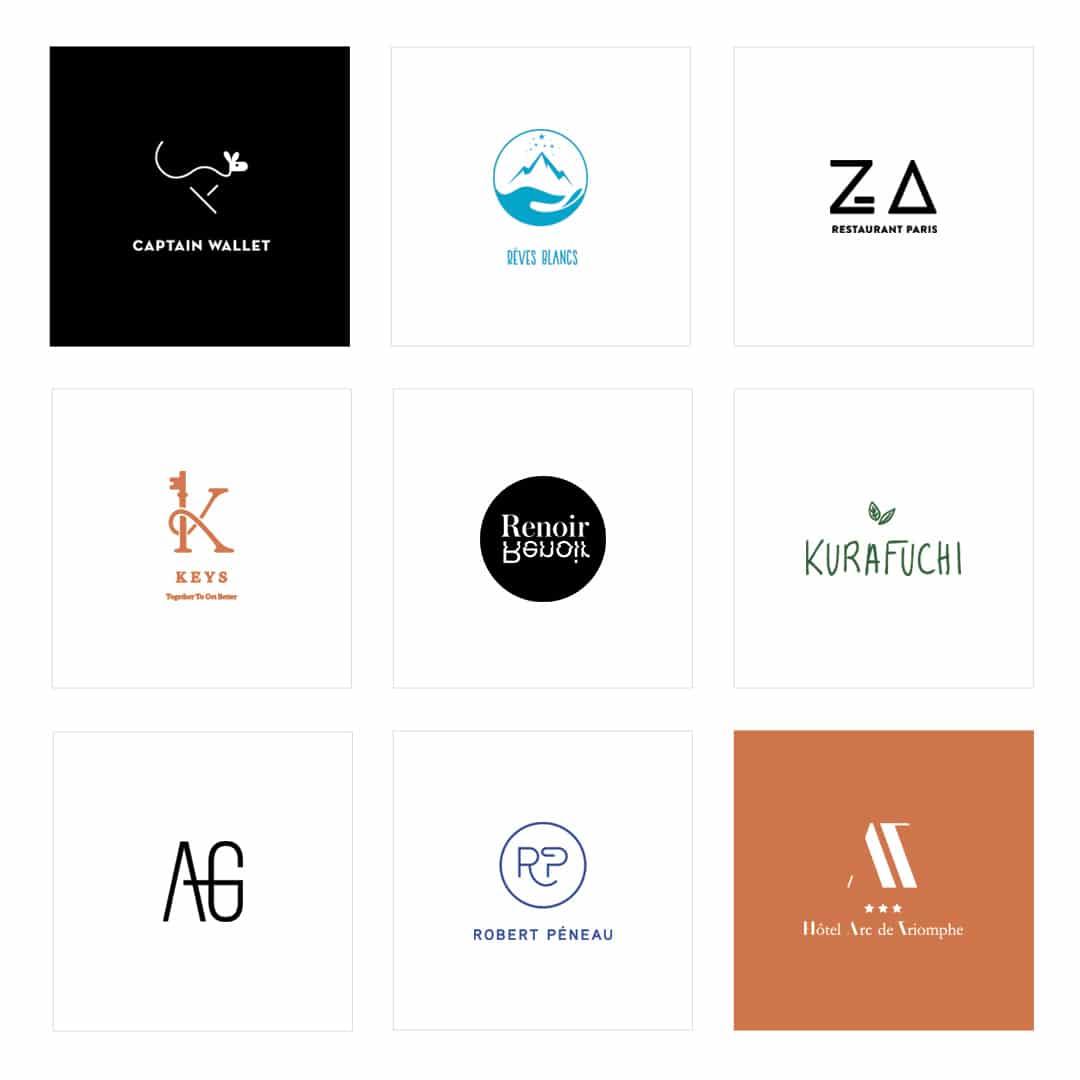Planche de neuf logos que j'ai réalisé depuis un an