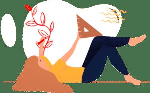 pictogramme d'une femme qui dessine d'une main avec un stylo rouge et un compas dans l'autre main sur fond blanc