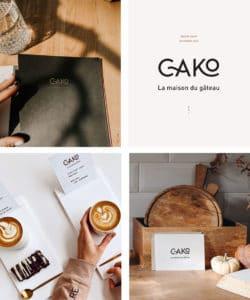 quatre images du projet Cako, la maison du gâteau. En haut à droite le logo en noir sur fond beige, en haut à gauche l'image de la carte des produits proposés, en bas à droite la carte de visite prise en photo sur un plan de travail et en bas à gauche les visuels servis avec les gêteaux