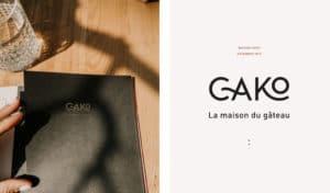 deux images du projet Cako, la maison du gâteau. A droite le logo en noir sur fond beige et a gauche l'image de la carte des produits proposés
