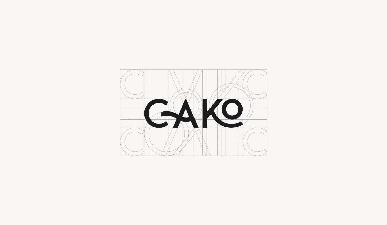 logo cako noir sur un fond beige et sa grille de construction