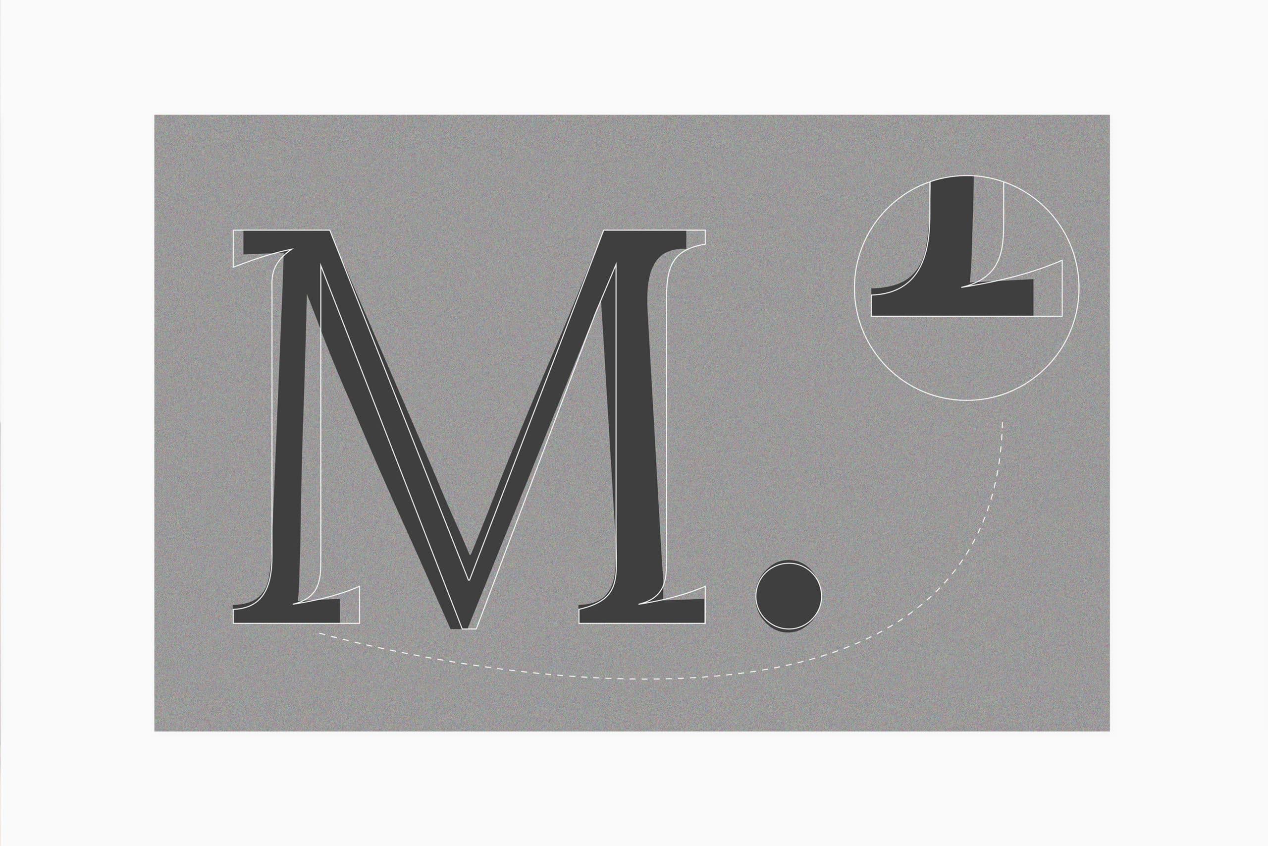 feuille gris foncé sur fond gris clair présentant la lettre M et un zoom sur son jambage inferieur de la typographie Lora Laiko