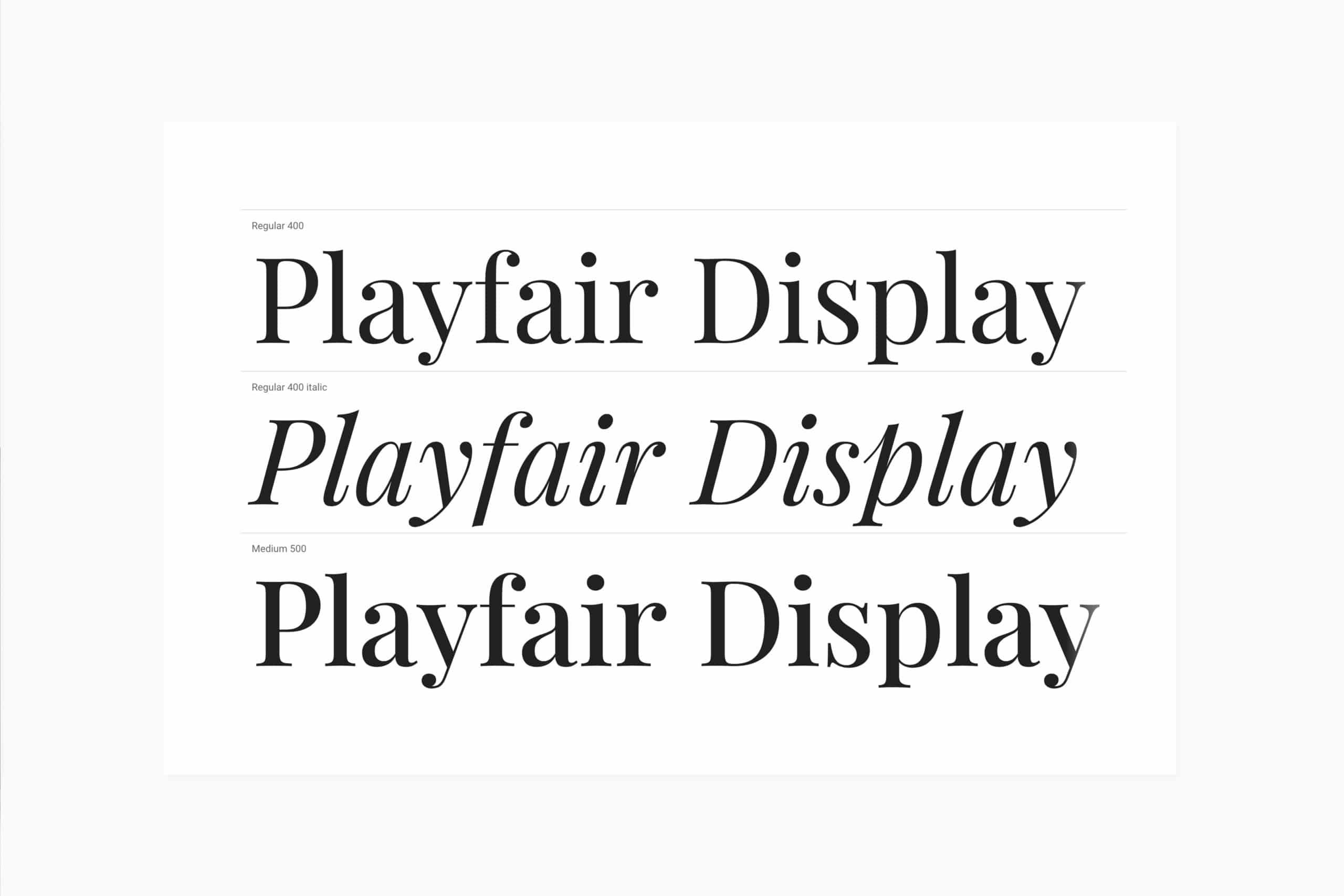 feuille blanche sur fond gris présentant la typographie Playfair Display et ses graisses
