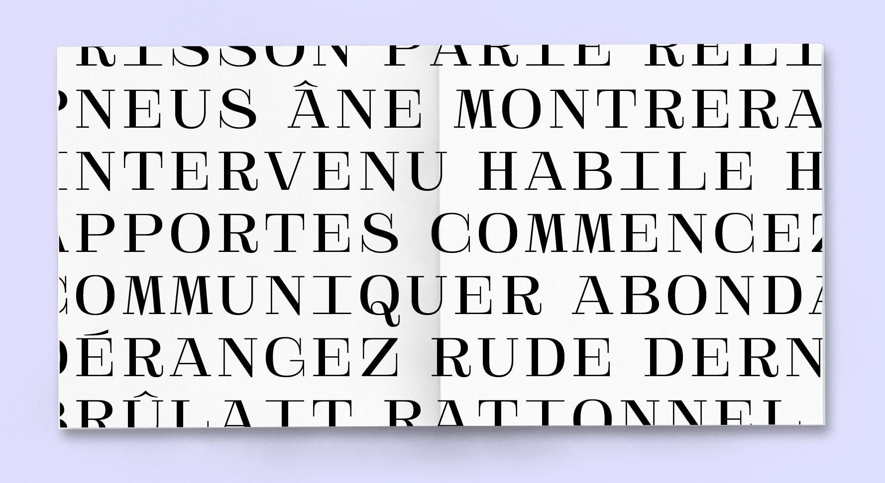 livre blanc avec typographie majuscule noir posé sur un fond violet