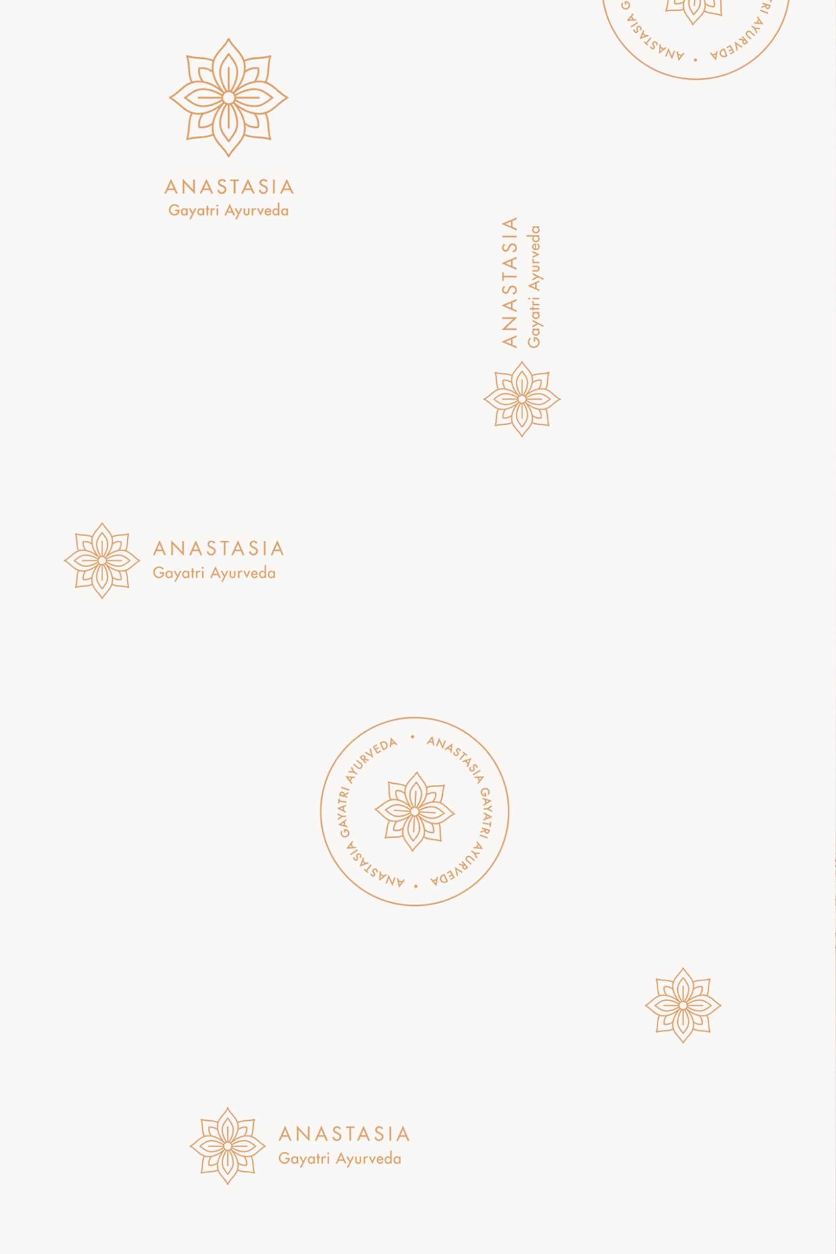 Différents logotypes et déclinaisons pour Anastasia Gayatri Ayurveda