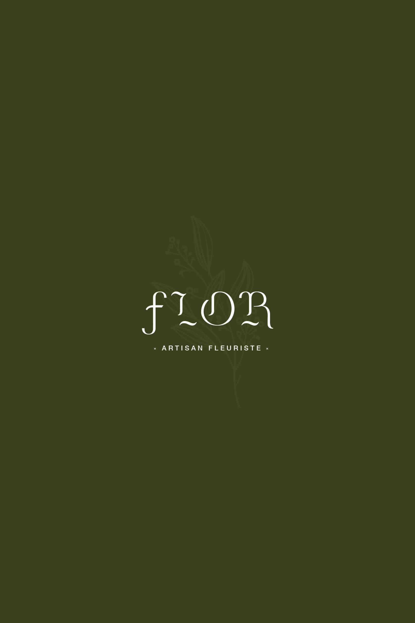Zoom sur la carte de visite verte foncé du fleuriste Flor