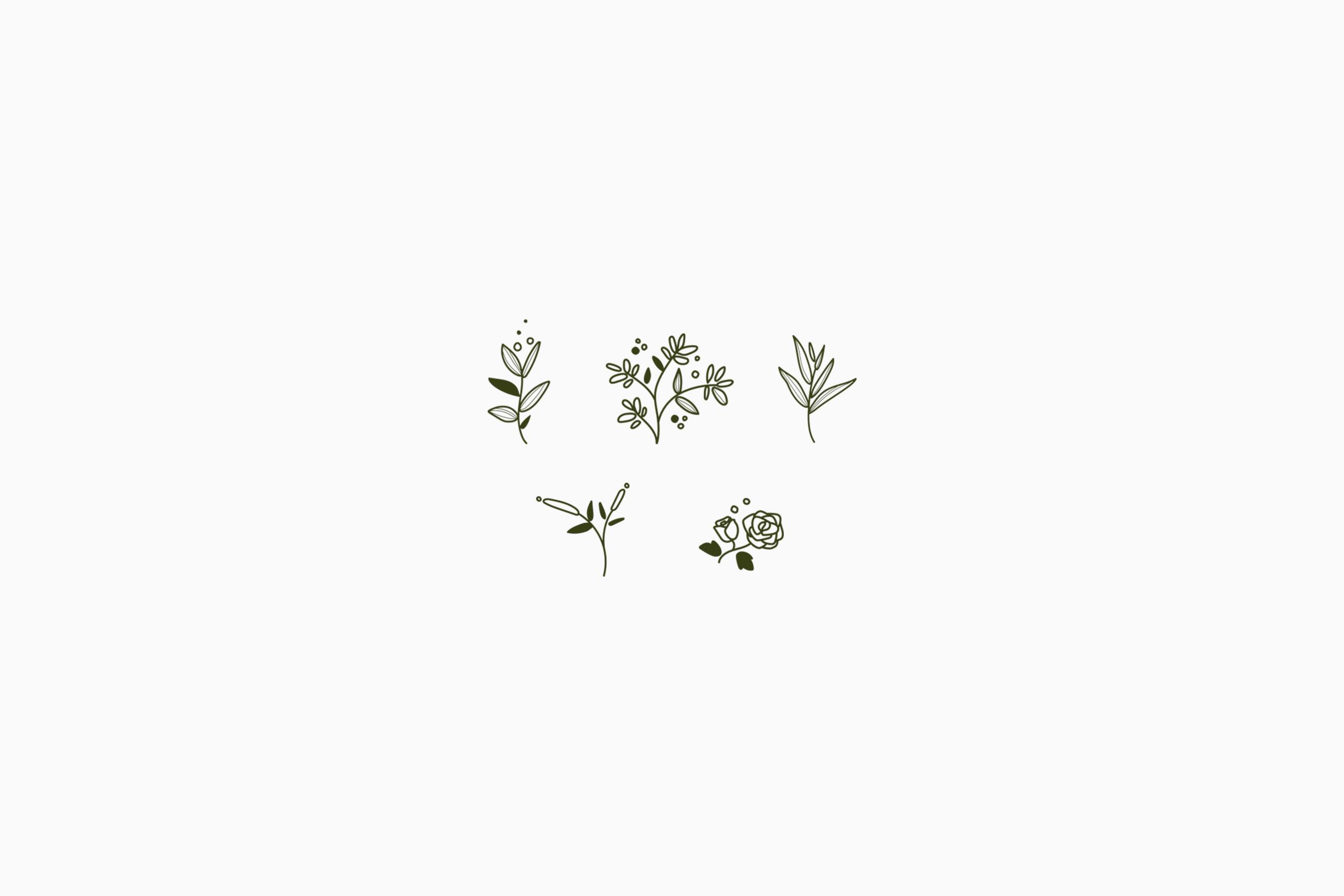 5 pictogrammes de fleurs verte sur fond blanc
