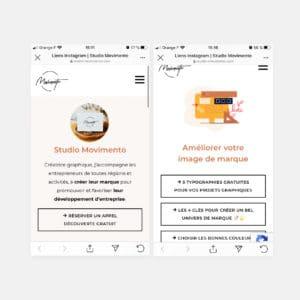 Visuel avec deux écrans mobiles de liens instagram du studio movimento