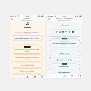 Visuel avec deux écrans mobiles de liens instagram sur mesure