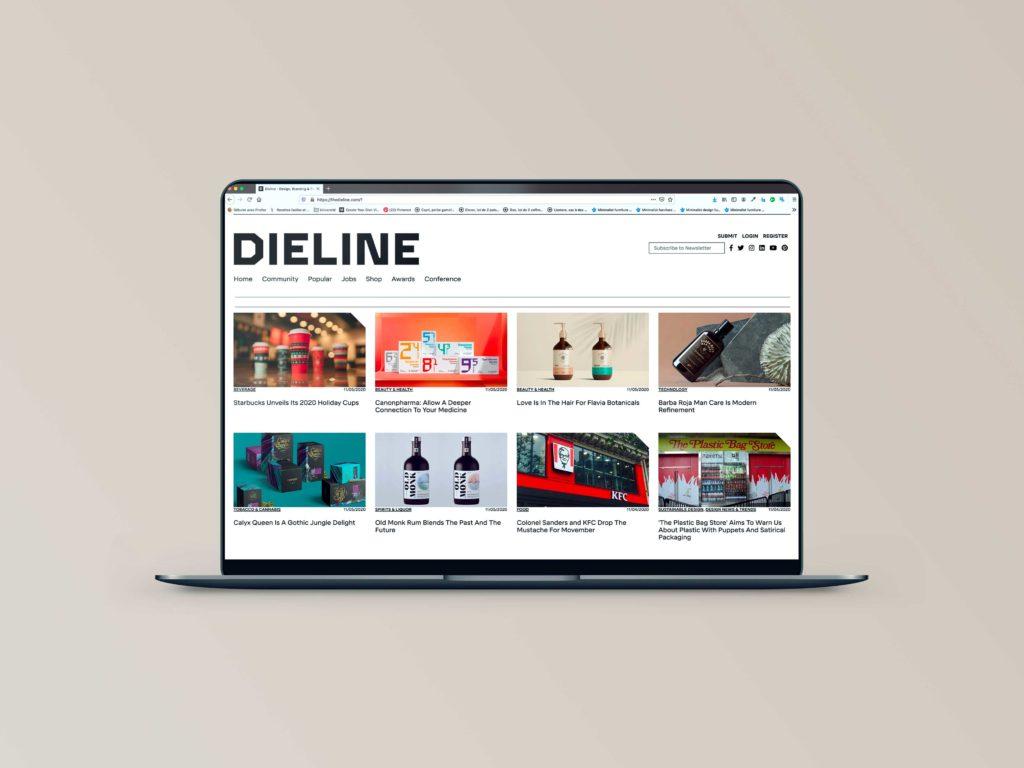 ordinateur de travail avec la mise en avant du site internet Dieline