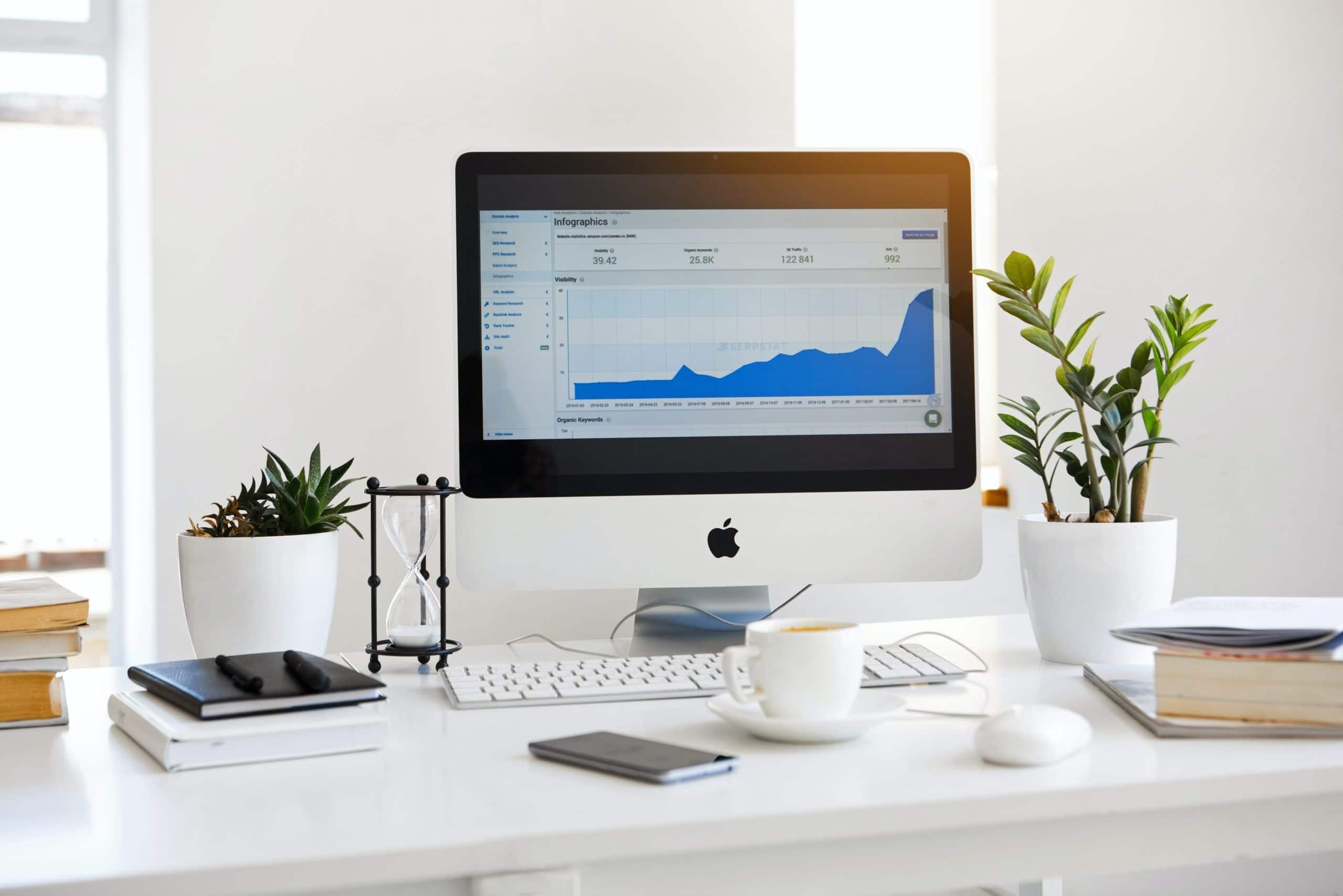 ordinateur posé sur un bureau blanc avec une plante verte et des livres