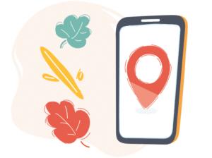 Illustration d'un portable avec un pictogramme de localisation rouge