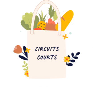 """Illustration d'un sac en tissu de course avec des fruits et légumes à l'intérieur. Le sac à la mention """"circuits courts"""" écrit dessus"""