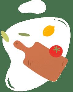 Illustration d'une planche en bois de cuisine, d'un citron et d'une tomate prête à être découpées