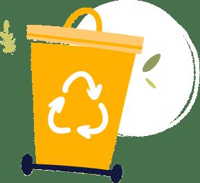 Illustration d'une poubelle jaune avec le logo de recyclage