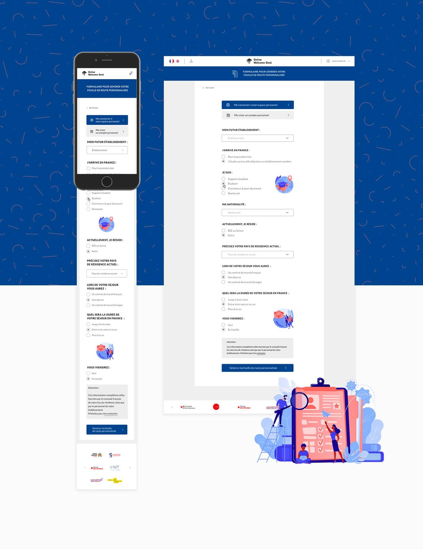 Mobile et interface d'ordinateur présentant le formulaire en ligne pour télécharger sa feuille de route personnalisée