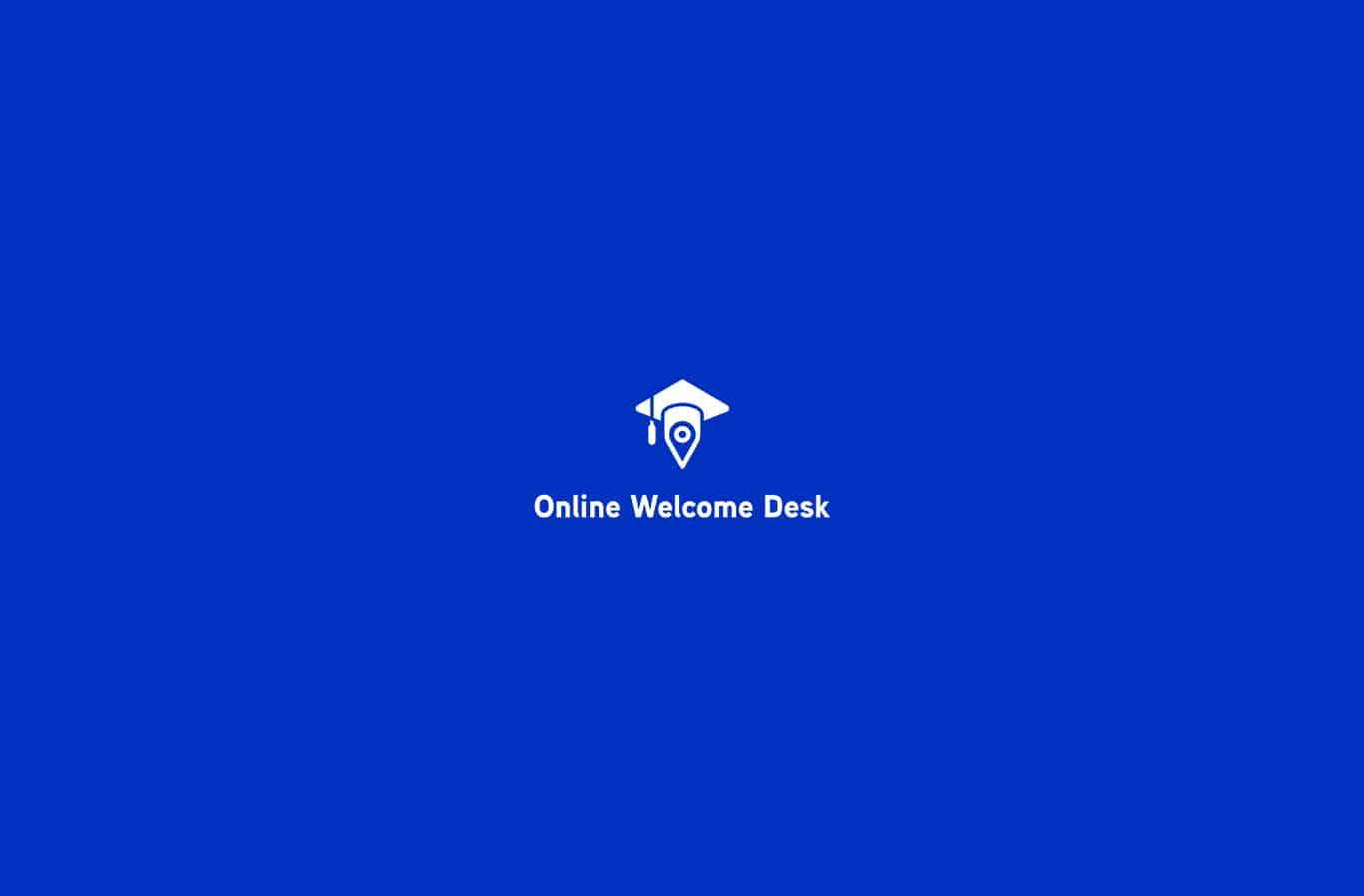 logotype blanc sur fond bleu réalisé pour la plateforme Online Welcome Desk projet pour l'UNIF