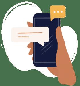 Illustration d'une main tenant un téléphone portable bleu foncé avec des encarts de dialogues qui ressortent