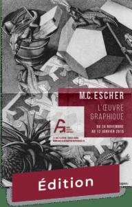 Affiche pour le Musée des Arts Graphiques avec une image de l'œuvre Reptiles de Escher