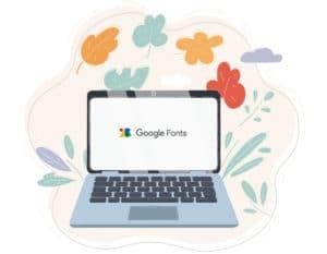 Illustration d'un ordinateur avec le logo Google Fonts au milieu de l'écran