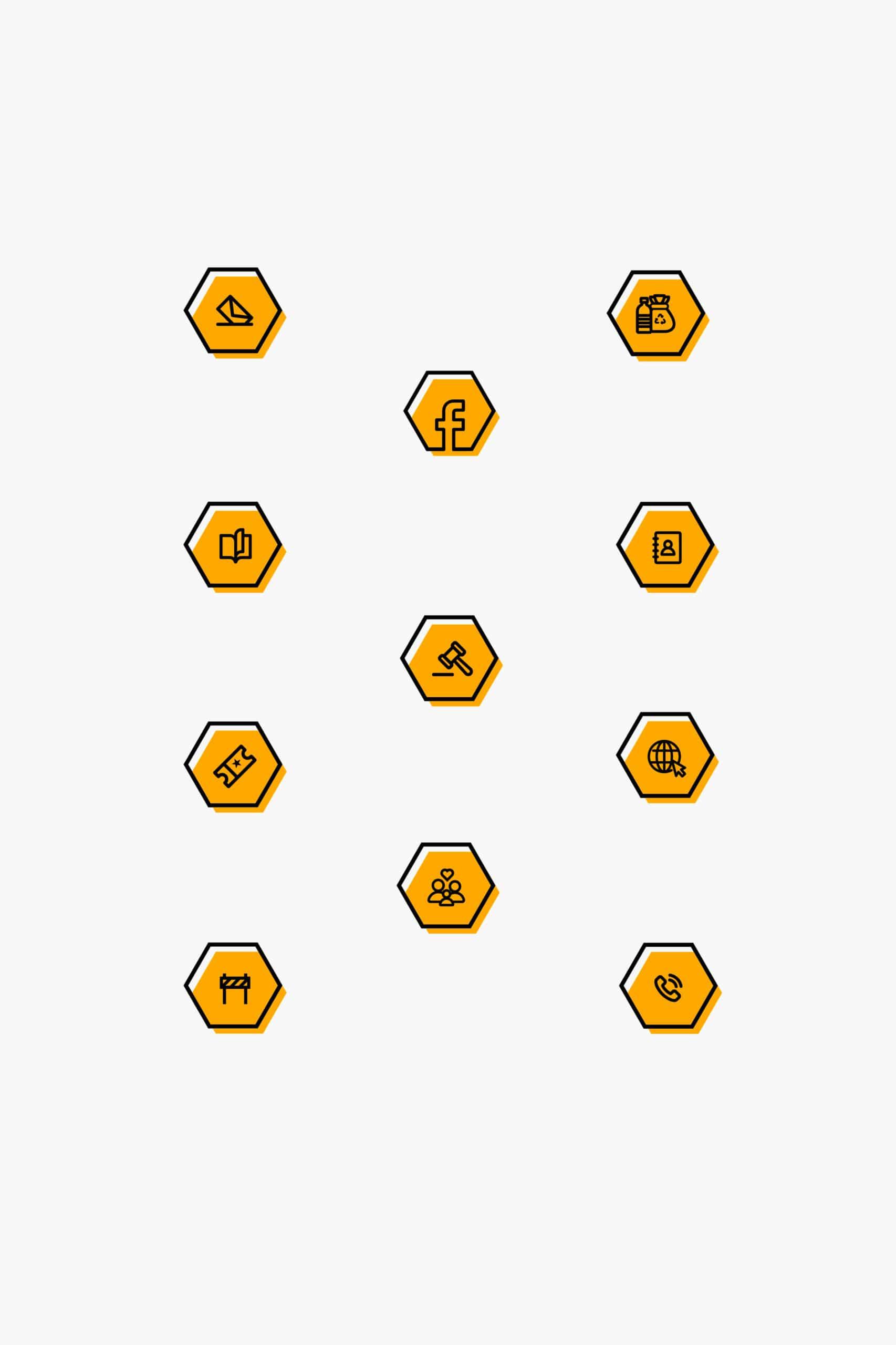 les 11 pictogrammes noir et jaune réalisés sous forme d'hexagones