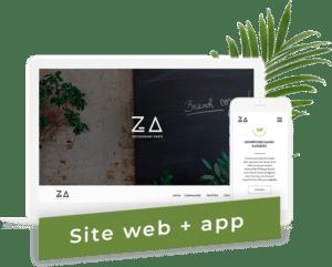 ordinateur et mobile blanc avec une interface présentant le projet entrepreneurial ZA Paris