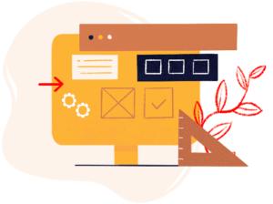 Illustration colorée d'un ordinateur jaune avec de multiples détails de créations graphiques (picto setting, picto de validation...). À l'arrière de l'illustration, on retrouve une tache rose pâle.