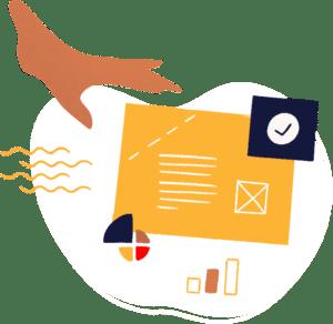 Illustration d'une main qui travaille l'ergonomie en modifiant les éléments qui composent un site internet