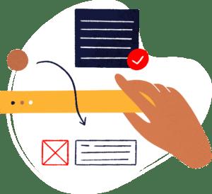 Illustration d'une main qui modifie les éléments qui composent un site internet pour montrer que l'administration est facile