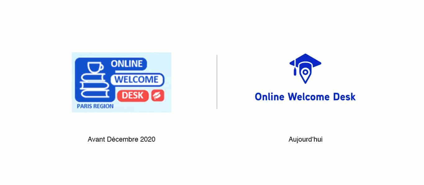 À gauche l'ancien logotype de la plateforme Online Welcome Desk et à droite le nouveau logotype de la plateforme