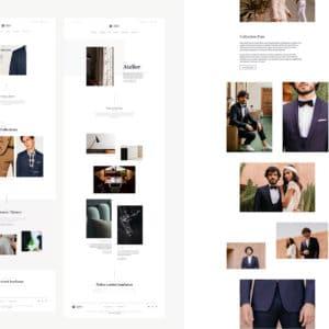 Trois pages de site internet vitrine avec une multitude de photographies
