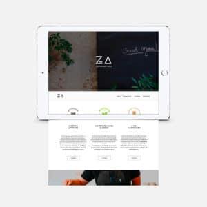 Tablette blanche avec le site internet responsive Za Paris